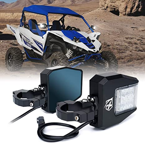 Xprite UTV Rear Side Mirrors with Clear Lens LED Spot Lights and Blue  Anti-Glare Mirrors fit 1 5-2 5 inch Roll Bar Cage for Polaris RZR XP 1000,  UTV,