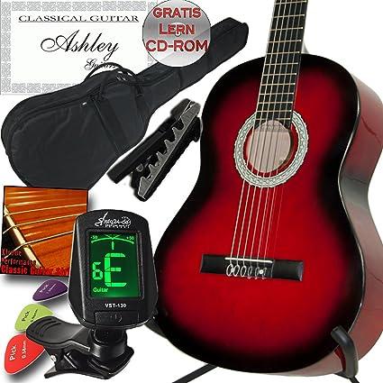 Ashley zurdos Guitarra clásica redburst Rojo con Juego, funda ...