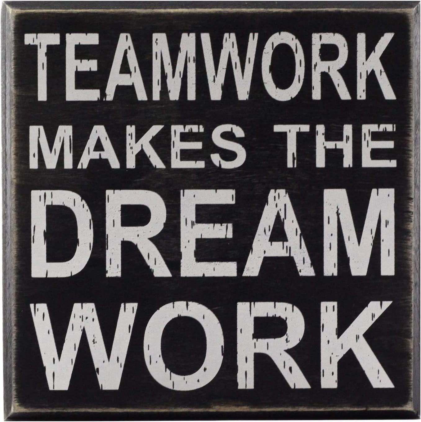 "Teamwork Makes The Dream Work 5""x5"" Cute Inspirational Wooden Box Sign with Sayings Unique Gift for Home Or Office"