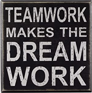 """Teamwork Makes The Dream Work 5""""x5"""" Cute Inspirational Wooden Box Sign with Sayings Unique Gift for Home Or Office"""