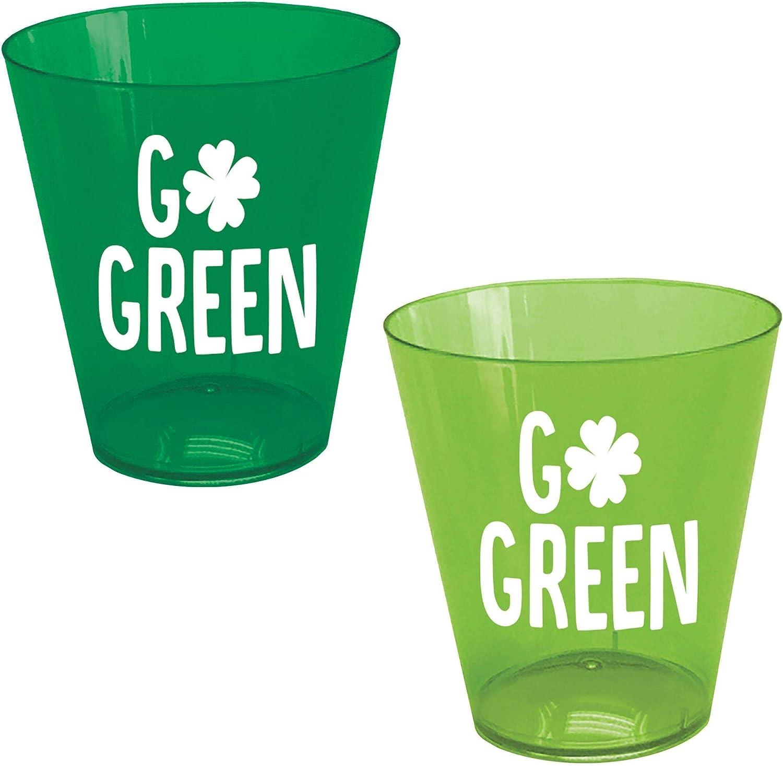 Amscan 350362 Go Green Plastic Shot Glasses 40ct Toys Games Amazon Com