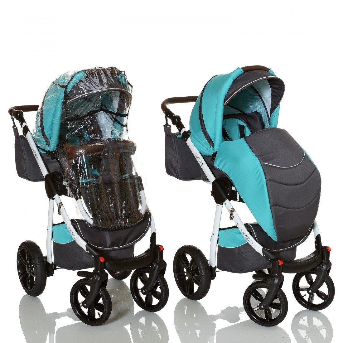 LCP Kids 3in1 Kombi Kinderwagen Lucato Luftreifen Komfort mit Pannenfrei Garantie Farbe:Titan