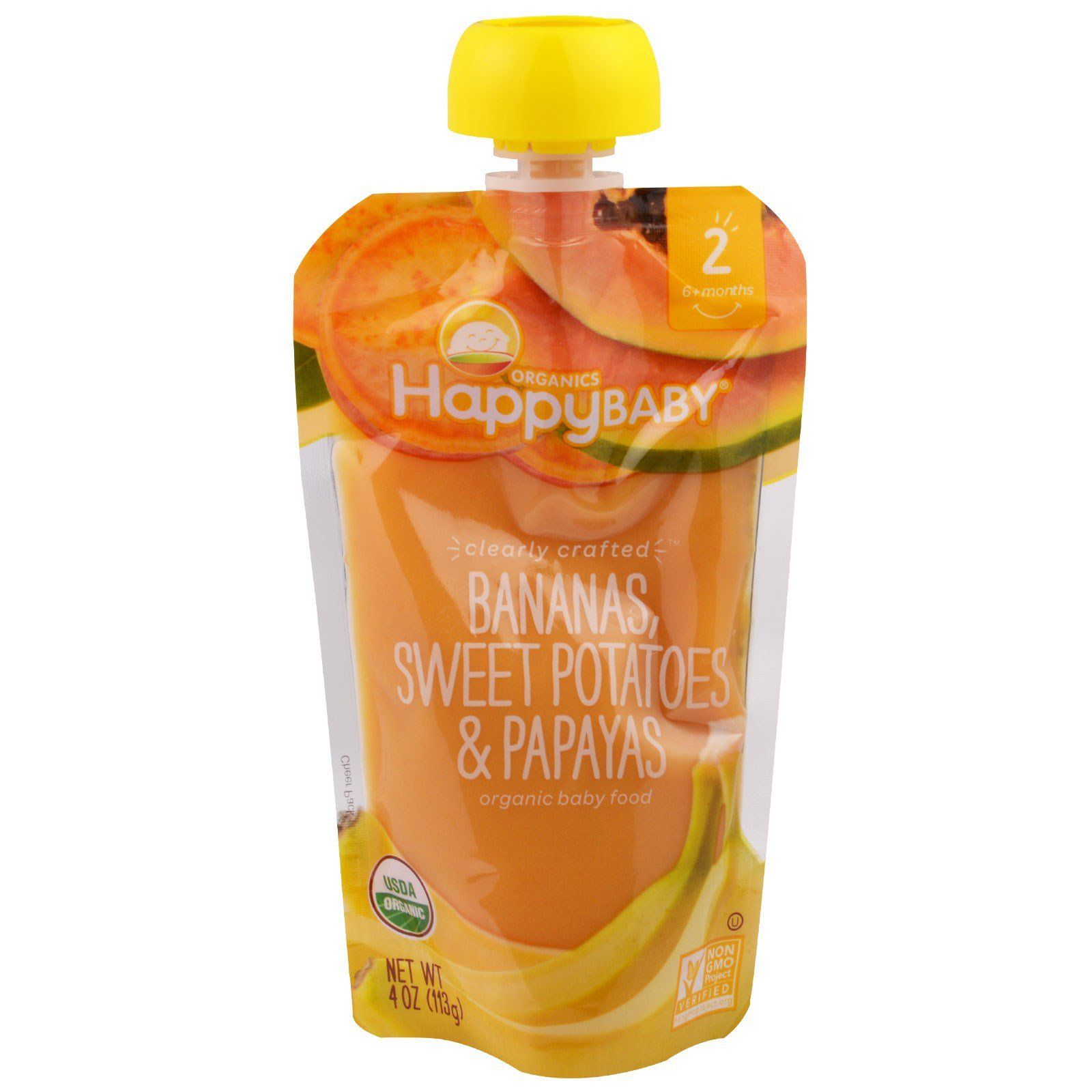 Happy Baby Clearly Crafted Stage 2 Organic Baby Food Bananas Sweet Potatoes & Papayas, 4 Ounce Pouch Resealable Baby Food Pouches, Fruit & Veggie Puree, Non-GMO Gluten Free Kosher by Happy Family