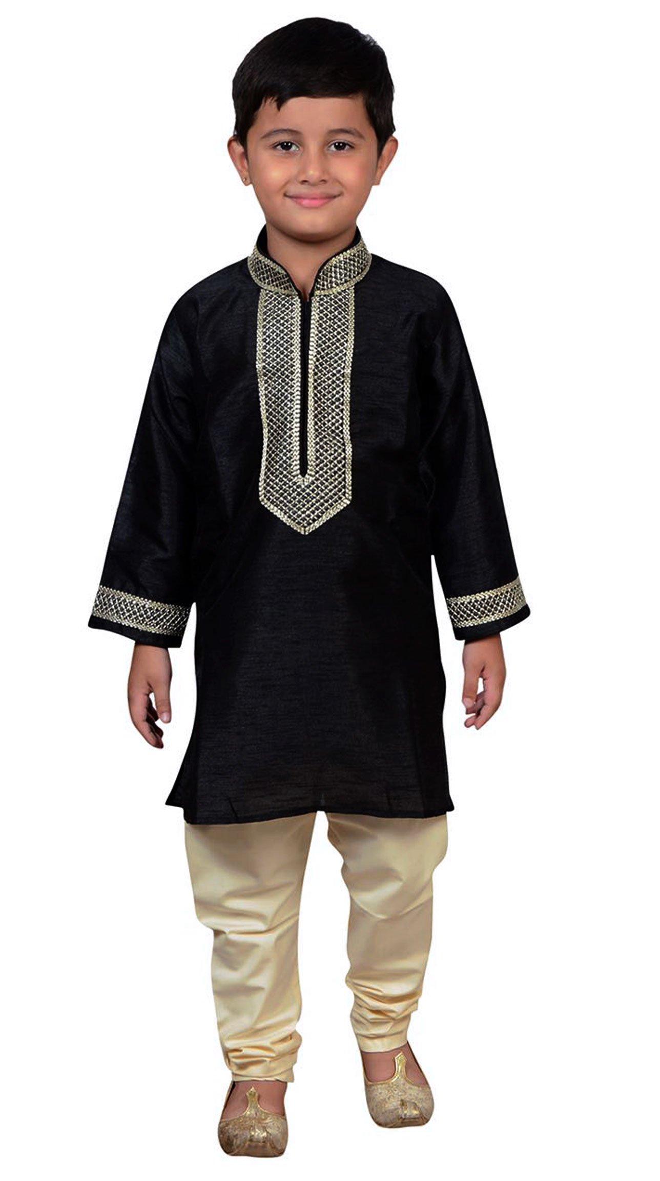 Boys Indian BLACK Sherwani Kurta with Churidar pyjama in fine Art Silk for Bollywood theme party outfit 896 (7 (7 yrs), Black)