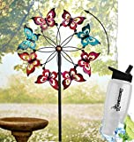 Gift Included- Decorative Butterfly Oversized Outdoor Lawn Yard WindMill Spinner Garden Decoration + FREE Bonus Water Bottle by Homecricket