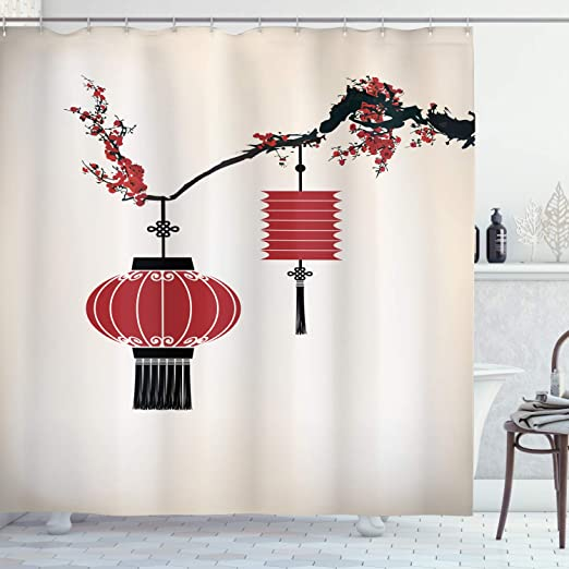 Japanese Lanterns Flowers Bathroom Waterproof Fabric Shower Curtain /& 12 Hooks