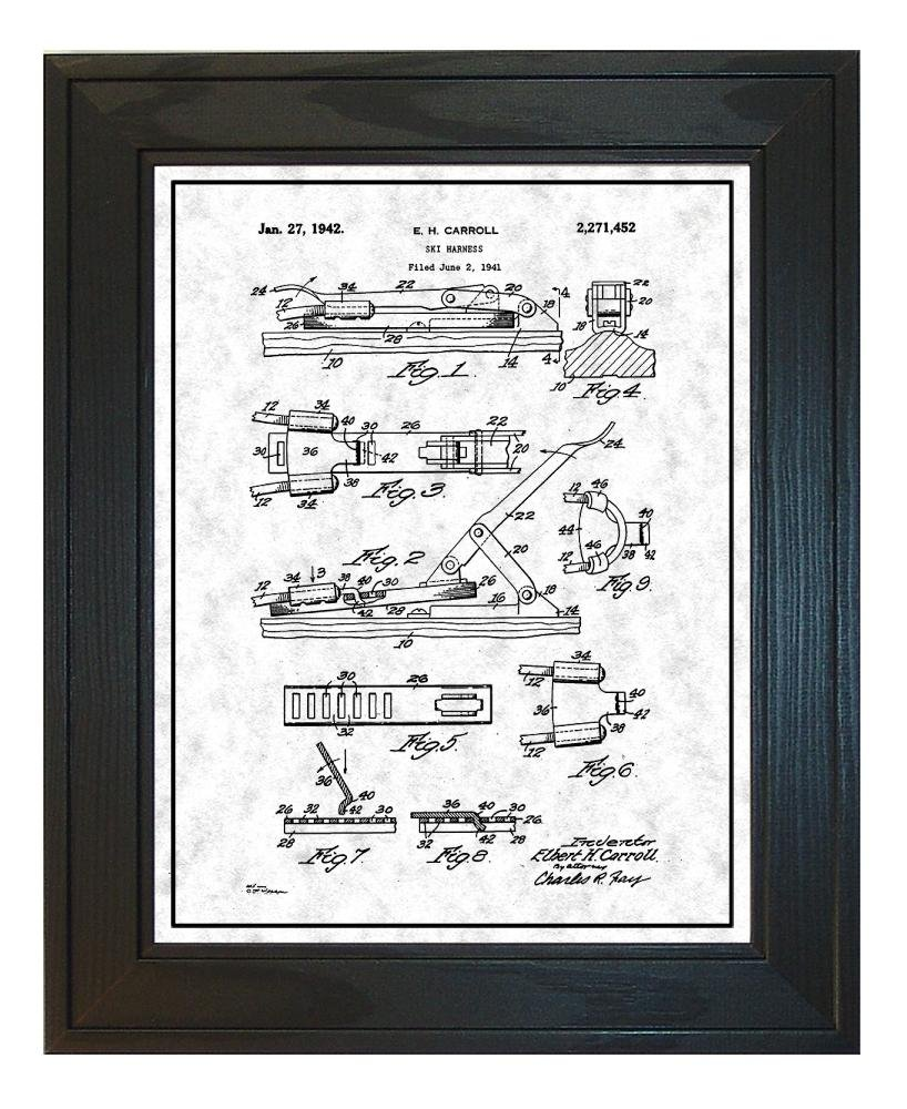 Ski Harness Patent Art Chalkboard Print With A Border In Boat Solid Pine Wood Frame 13 X 19 M11212 Posters Prints