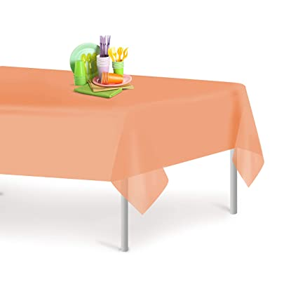 225 & Peach 6 Pack Premium Disposable Plastic Tablecloth 54 Inch. x 108 Inch. Rectangle Table Cover By Grandipity