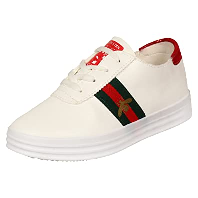 7086d9c21a6 AUTHENTIC VOGUE Women s Girls White and Colourful Strep with Designer Logo Sneakers  Shoes with Laces