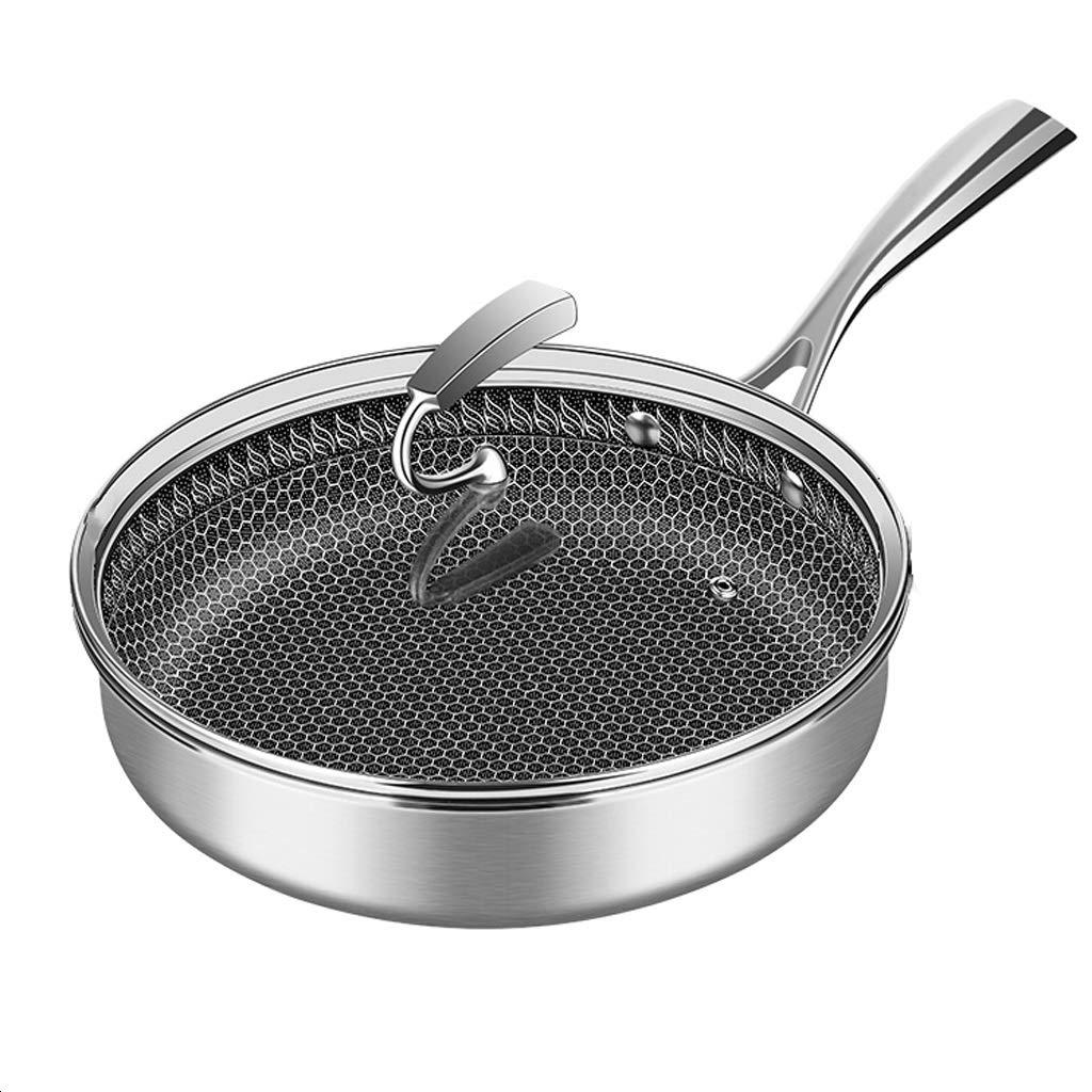 中華鍋/ステーキ鍋/焦げ付き防止の中華鍋/フライパン/フライパン/調理器具/台所料理/中華鍋/ガラスふた/ステンレス鋼のハンドル (サイズ さいず : 28センチメートル) 28センチメートル  B07S1RGS46