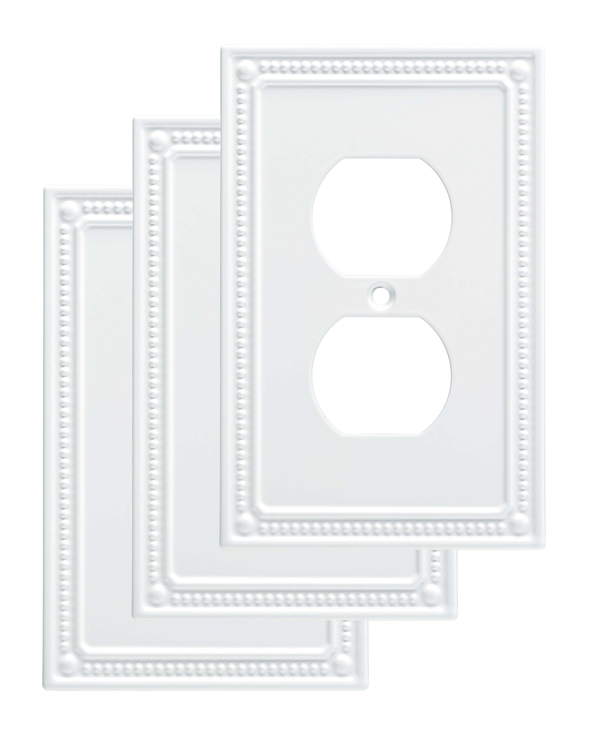 Franklin Brass W35059V-PW-C Classic Beaded Single Duplex Wall Plate/Switch Plate/Cover (3 Pack), White