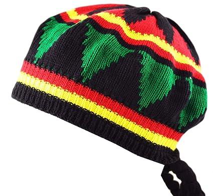 cf6463557fc Itzu Fancy Dress Adults Unisex Rastafarian Jamaican Rasta Tam Beanie Hat    Dreadlocks Hair