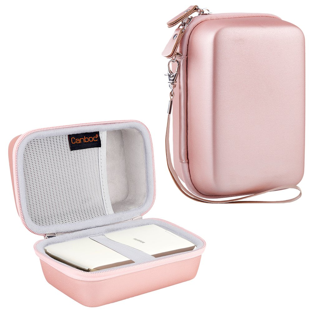 Canboc Shockproof Carrying Case for Fujifilm INSTAX SHARE SP-2 Smart Phone Printer | Storage Travel Case Bag Portable Fits USB Cable & Battery Charger & Mini Instant Film, Rose Gold by Canboc
