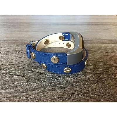 Élégant 2tours Bleu marine Bande de cuir pour Fitbit Alta et Alta HR Bracelet fait main écologique avec plusieurs rivets Doré par BSI
