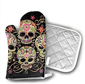 Day of The Dead Sugar Skull Oven Mitts and Potholders (2-Piece Sets) - Kitchen Set with Cotton Heat Resistant,Oven Gloves for BBQ Cooking Baking Grilling