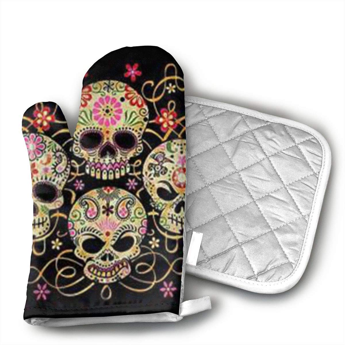 CHWEYAQ Day of The Dead Sugar Skull Oven Mitts and Pot Holders Set of for Kitchen Set with Cotton Non-Slip Grip