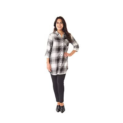 Caffe Marrakesh Women's Convertible Roll Tab Sleeve Collared Button Down Rayon Tunic Shirt: Clothing
