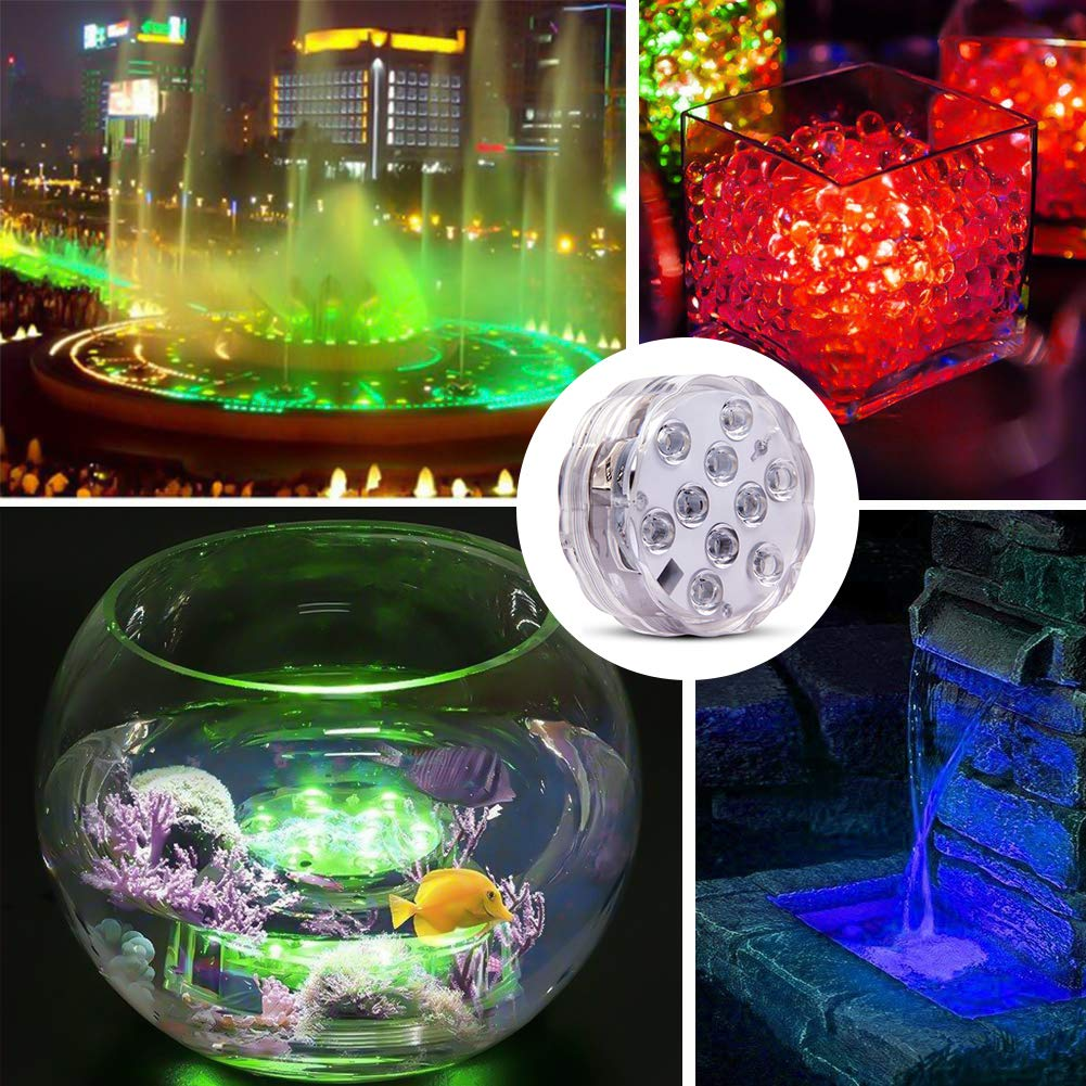 Underwater Submersible LED Lights Waterproof Multi Color Battery Operated Remote Control Wireless 10-LED lights for Hot Tub,Pond,Pool,Fountain,Waterfall,Aquarium,Party,Vase Base,Christmas,IP68 2pack by WHATOOK (Image #6)