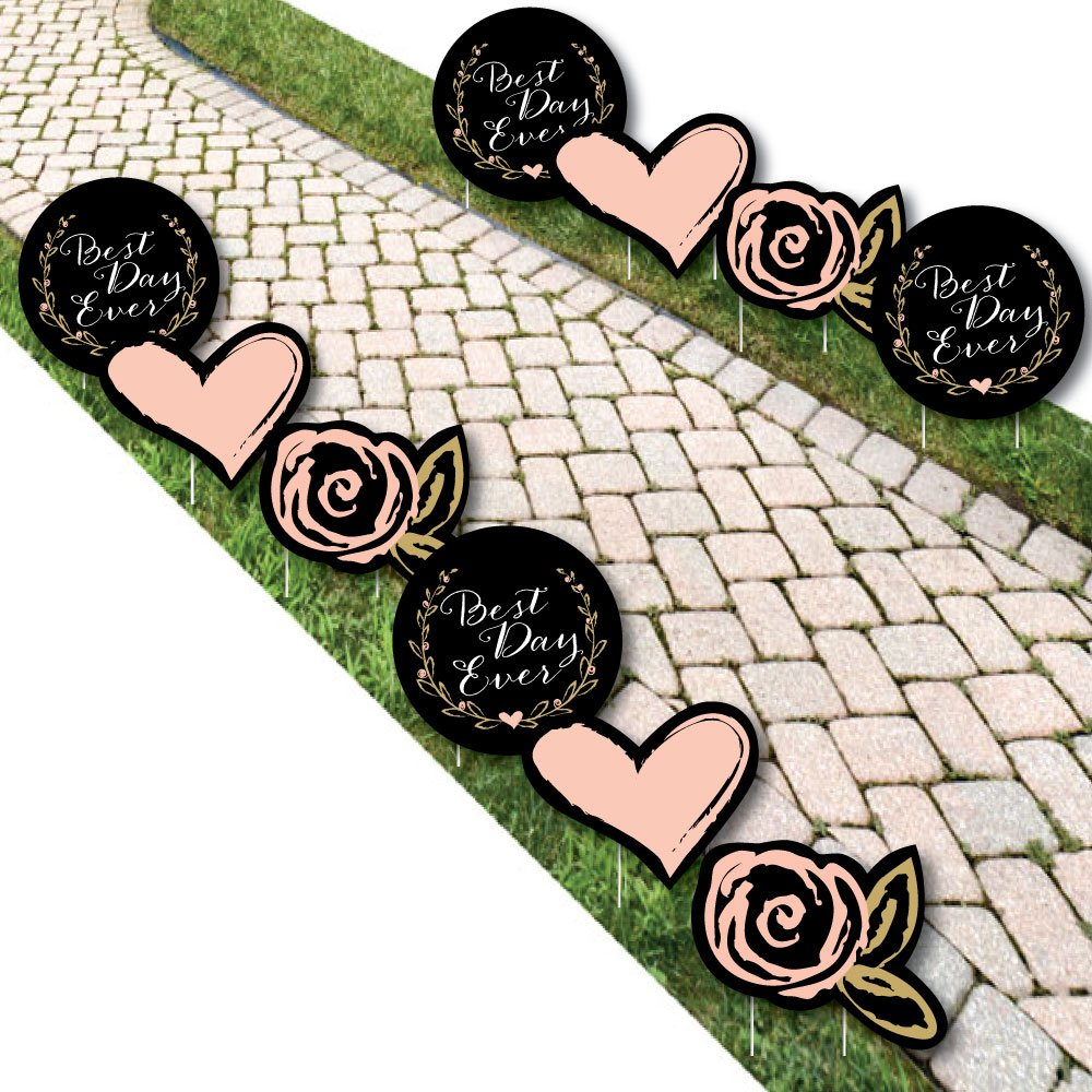 Best Day Ever - Heart and Flower Lawn Decorations - Outdoor Bridal Shower or Birthday Party Yard Decorations - 10 Piece by Big Dot of Happiness