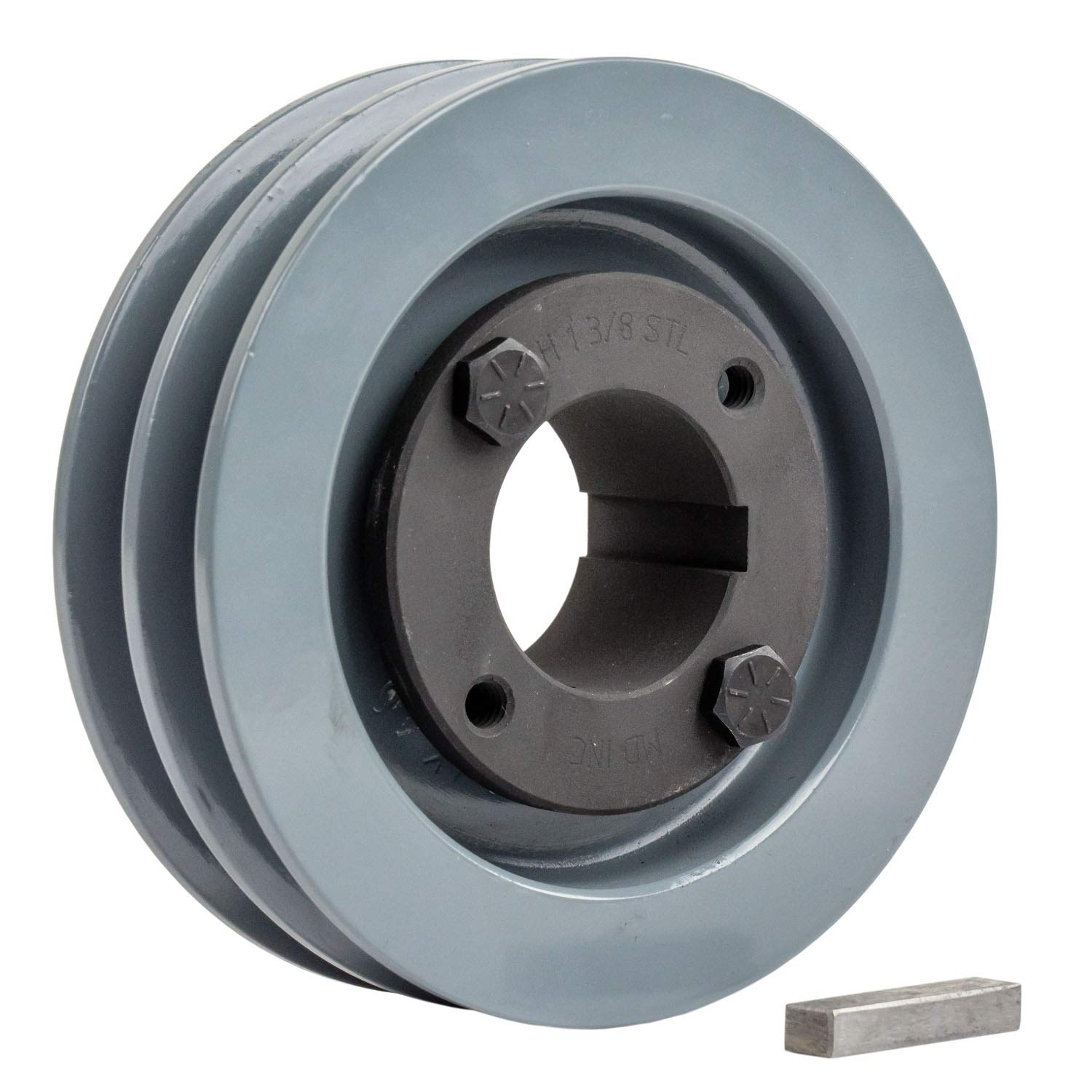 2 Piece Cast Iron 4'' 2 Groove Dual Belt A Section 4L Pulley with 1-3/8'' Sheave Bushing 2AK41H by Masterdrive