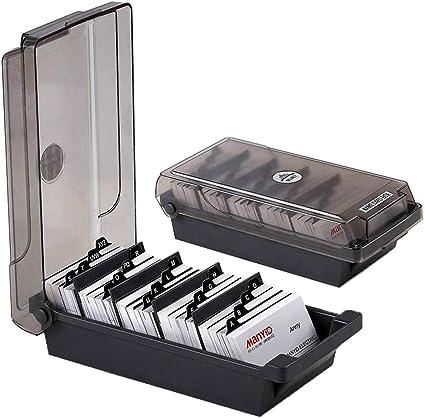 Heheng - Caja de tarjetas de visita con separadores y pestañas de índice (500 tarjetas, tarjetero, tarjetero, tarjetero y archivador giratorio): Amazon.es: Oficina y papelería