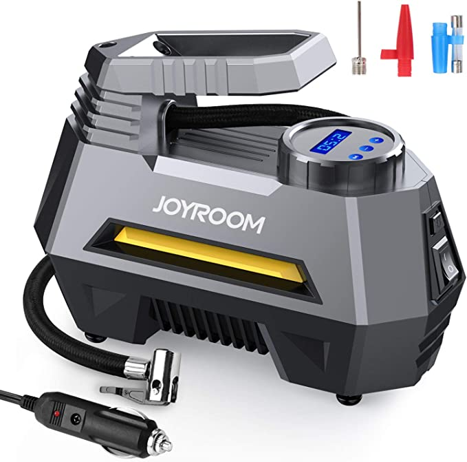 AmazonSmile: joyroom Portable Car Air Pump Tire Inflator CZK-3631, Tire Compressor with Digital Pressure Gauge (150 PSI 12V DC), Bright Emergency Flashlight - for Auto, Trucks, Bikes, Balls (Gray): Automotive