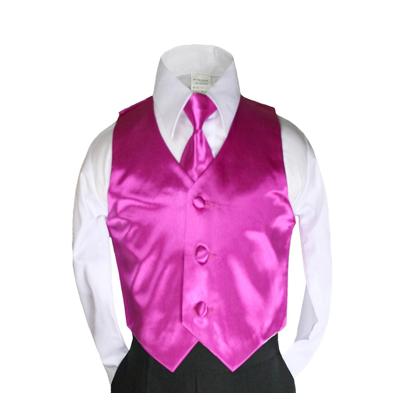 Unotux 2pc Boys Satin Fuchsia Pink Vest and Necktie Long Tie Set Suits Baby Teen