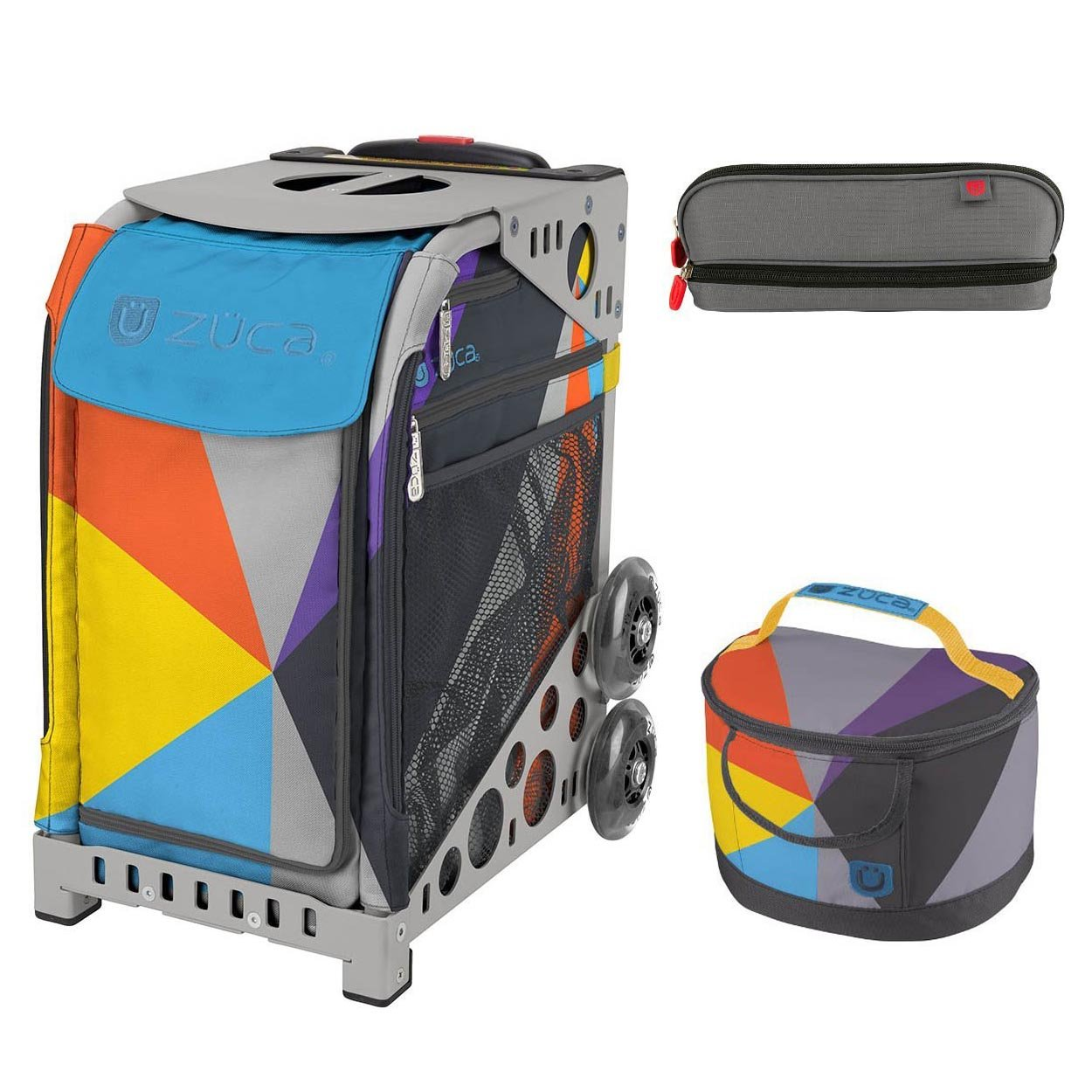 Zuca Sport Bag - Colorblock Party with Gift Lunchbox and Pencil Case(Gray Frame) by ZUCA