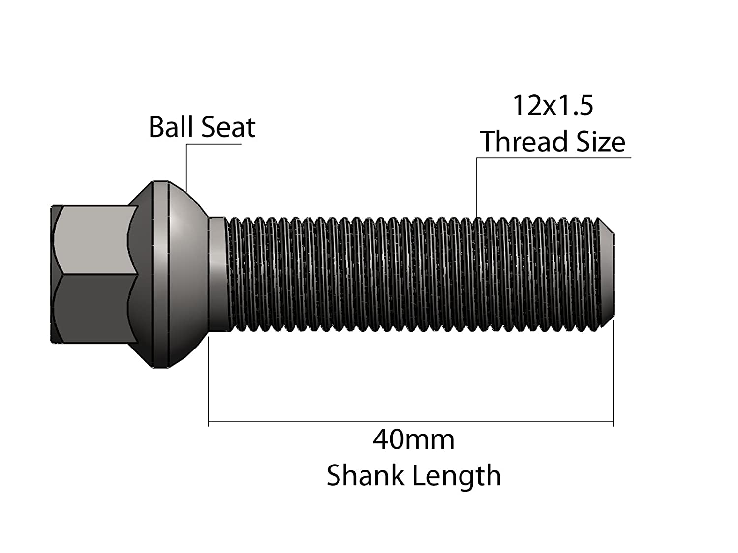 - C230 C240 C280 C320 E320 E420 E430 AMG SLK CLK Fits many Mercedes Benz Locking Silver Lug Bolts 12x1.5 20 40mm Shank Length, Ball Seat Check Description for exact years Includes Socket Key