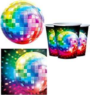Fancy Me 70s Disco Fever Rainbow Disco Ball 1970s Seventies Themed Party 32pc Tableware Set Celebration  sc 1 st  Amazon UK & Amscan 26.6 cm 70s Disco 8 Round Paper Plates: Amazon.co.uk: Kitchen ...