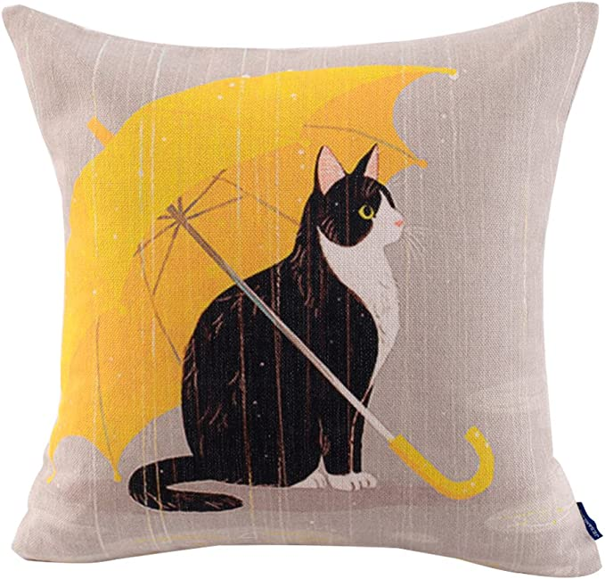 Jes Medis Cute Cat Theme Print Square Throw Pillow Cover Cotton Linen Spring Home Decorative Cushion Case For Bed Office Car 18 X 18 Inches Yellow Umbrella Cat Home Kitchen Amazon Com