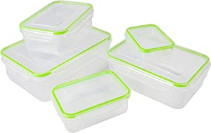 5pcs Food Storage Containers with Lids @ Airtight Leak Proof Easy Snap Lock and BPA-Free Plastic Container Set @ Plastic Food Containers with Lids @ Plastic Containers with Lids(Green)