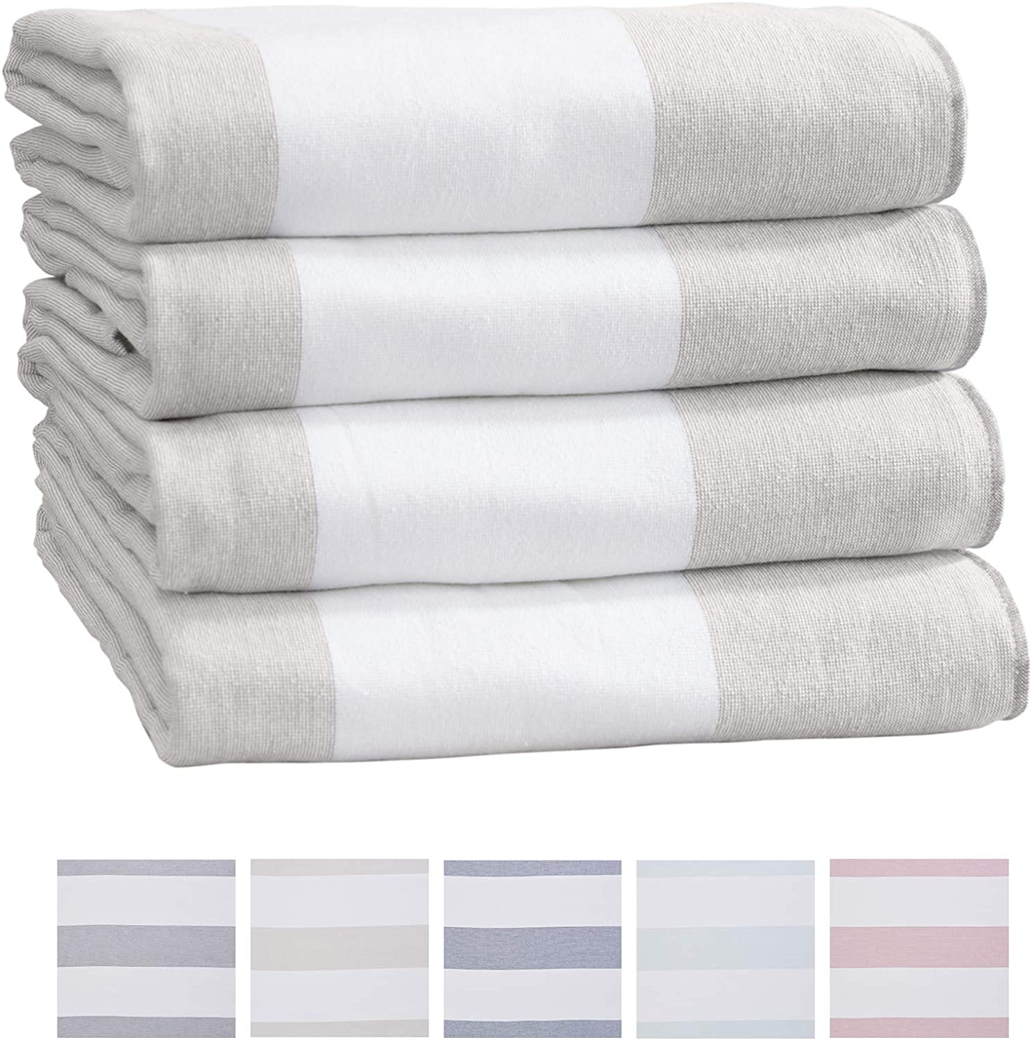 Great Bay Home 4-Pack of Beach Towels. Wide Stripe 100% Combed Cotton Large Pool Towels