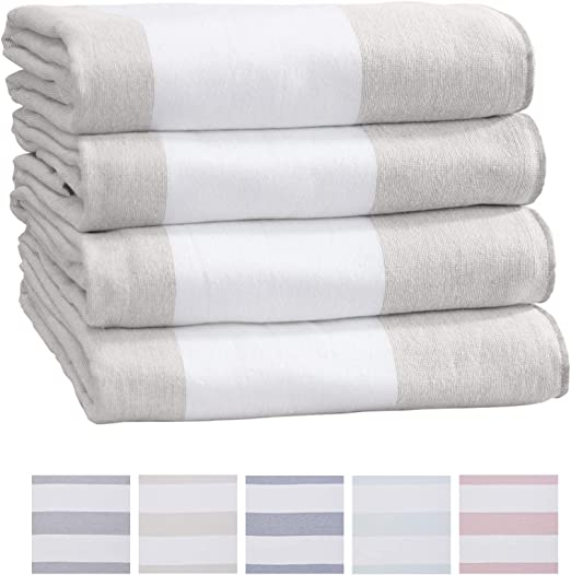 Pool Beach Towel Set of 4 Extra Large Cabana Striped Towels 100/% Cotton Tan