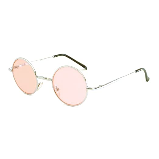 45cfd22c2b Image Unavailable. Image not available for. Color  John Lennon Vintage  Style Round Silver Hippie Party Shades Sunglasses PINK LENS
