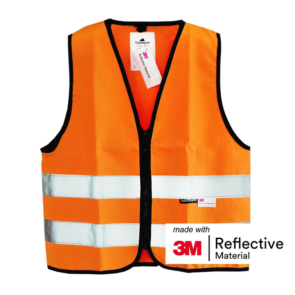 mit 3M reflektierendem Material Salzmann 3M Warnweste f/ür Kinder mit Rei/ßverschluss in 4 Farben und 3 Gr/ö/ßen verf/ügbar