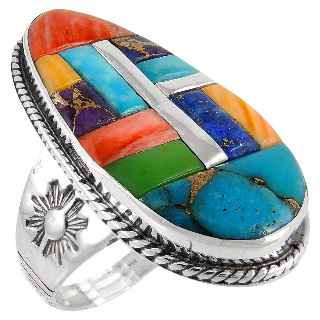 925 Sterling Silver Ring with Genuine Turquoise and Semiprecious Gemstones Sizes 6 to 13 (10)