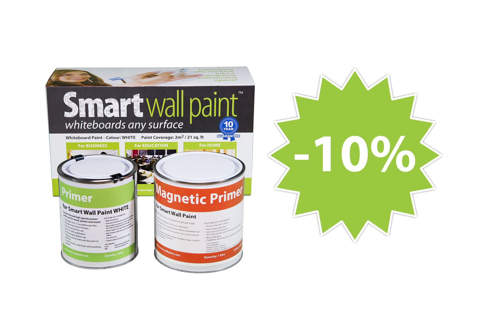 Magnetic & Dry-Erase Paint 2m² / 21 sq ft - White