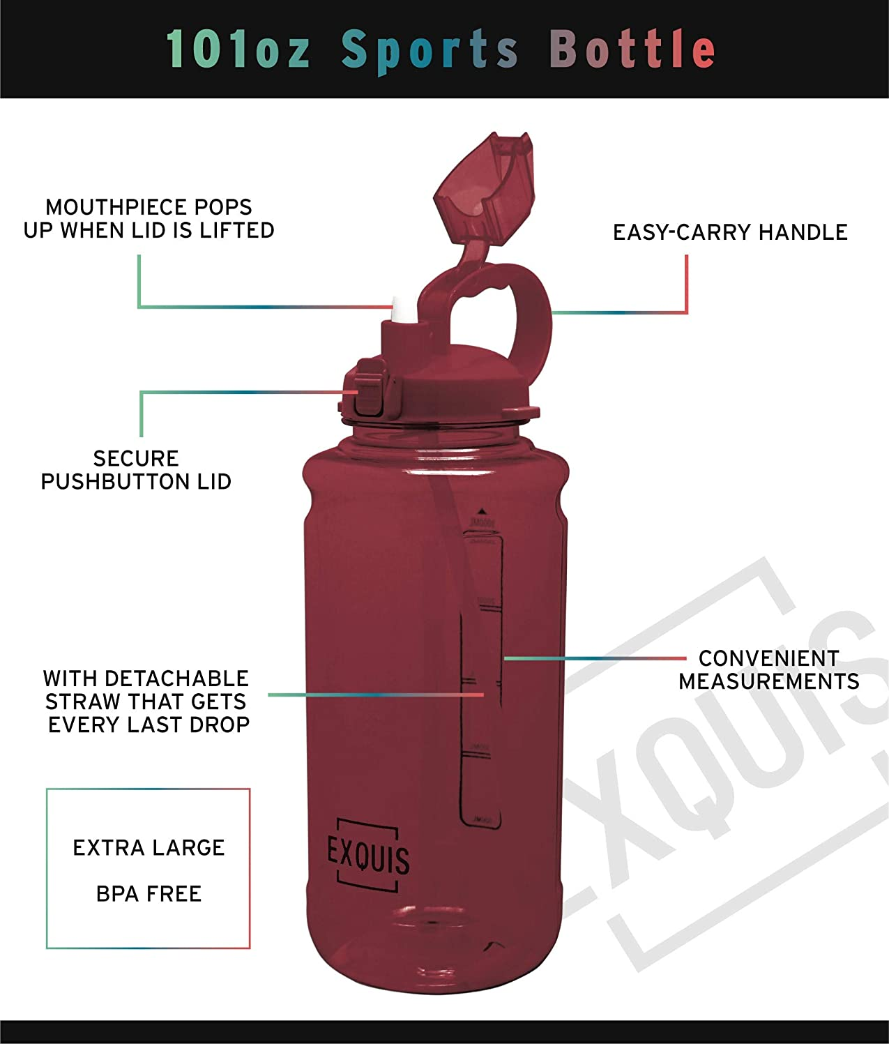 Locking Lid /& Pop Up Straw EXQUIS 101 OZ Tritan Outdoor Workout Water Bottle with Carry Handle Red 101Oz Gourmet Home Products 168813