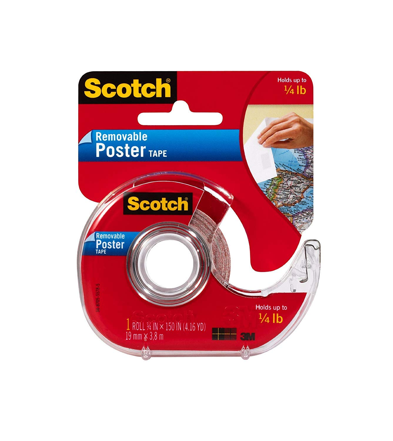 Scotch Removable Poster Tape, 3/4-inch x 150-inches, Clear, 1 Roll/Pack by Scotch Brand