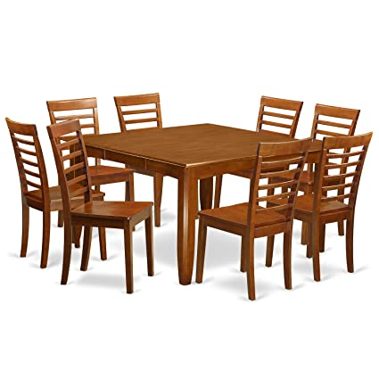 East West Furniture PFML9-SBR-W 9 Pc Formal Dining Room Set-Kitchen Table  with Leaf and 8 Dinette Chairs.