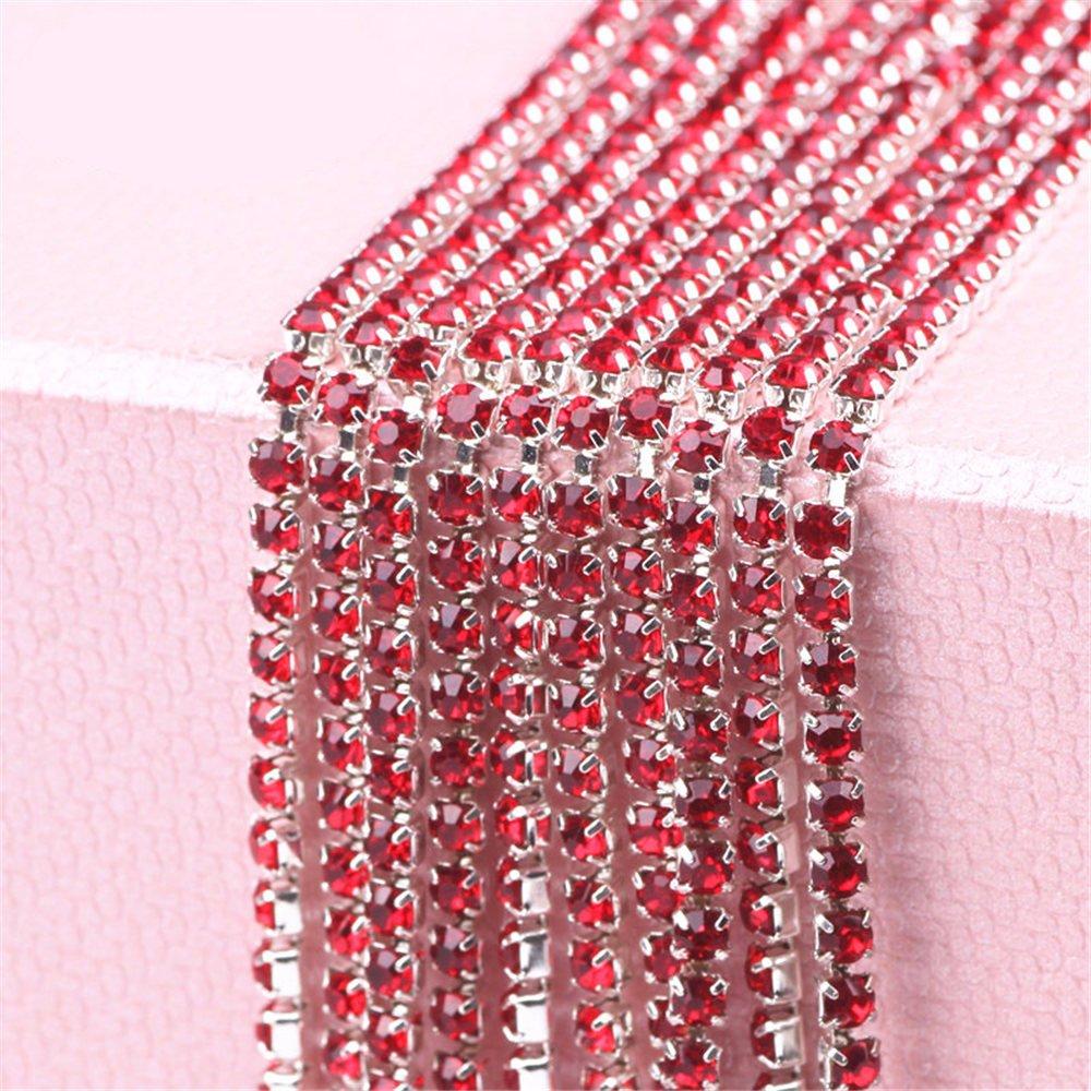 Red Pi-Pi 32.8 Feet 2MM Crystal Rhinestone Close Chain Trimming Claw Chain Jewelry Crafts DIY