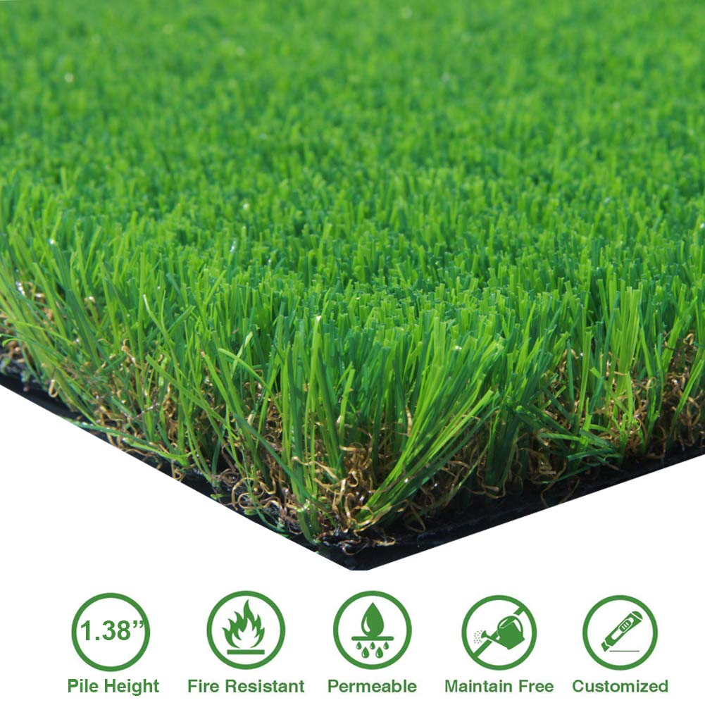 AGOOL 3.3ft x 5ft Artificial Grass Thick Synthetic Rubber Backed with Drainage Holes Fake Turf Mat, 1 3/8'' Blade Height, 3.3 5 16.5 Square ft