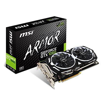 MSI GeForce GTX 1060 Armor 3G OCV1 - Tarjeta gráfica (refrigeración Armor 2X, 3 GB Memoria GDDR5, VR Ready)