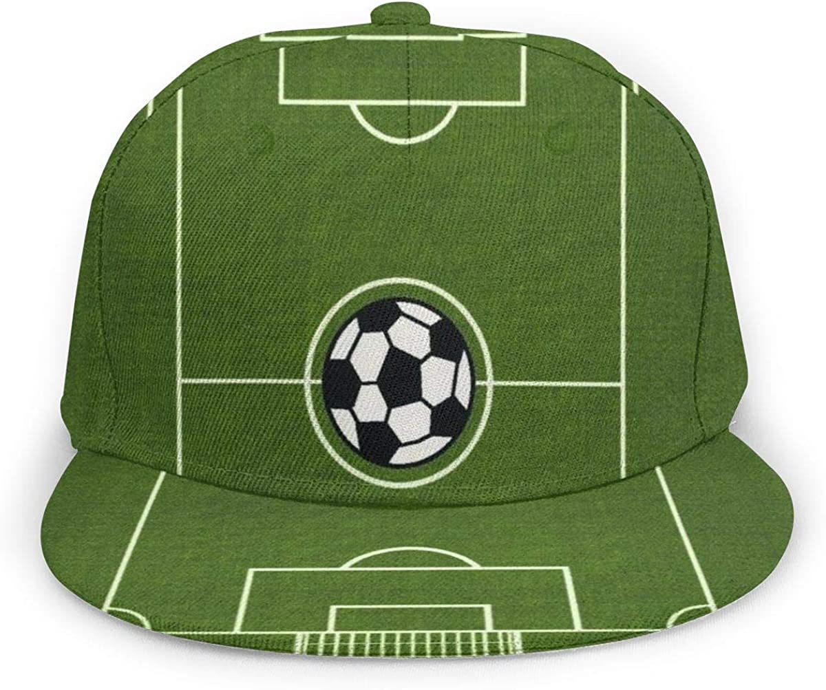 Cute Soccer Ground Field Green Lightweight Unisex Baseball Caps Adjustable Breathable Sun Hat for Sport Outdoor