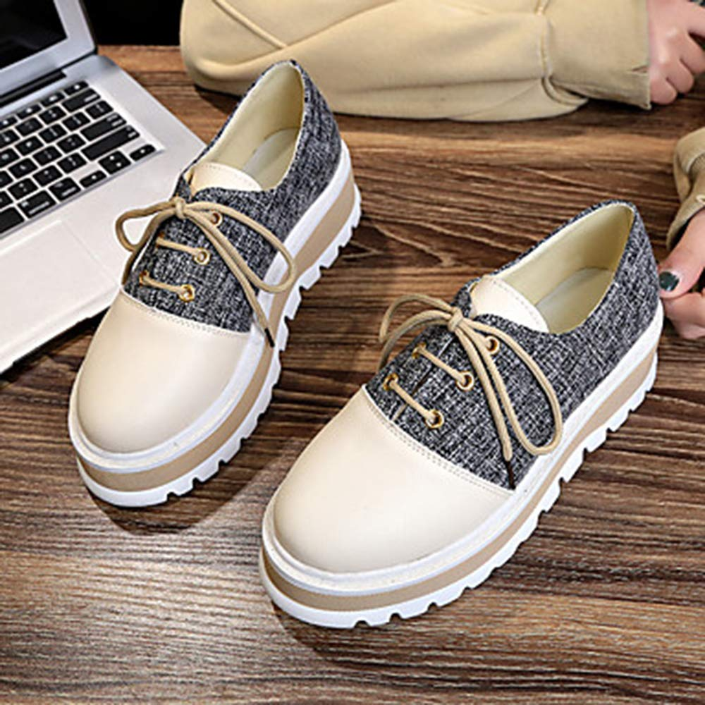 TTSHOES TTSHOES TTSHOES Per Donna Scarpe PU (Poliuretano) Primavera Estate Comoda Sneakers Footing Polacche Punta Tonda Nero/Cachi,Black,US5.5/EU36/UK3.5/CN35  - f92033