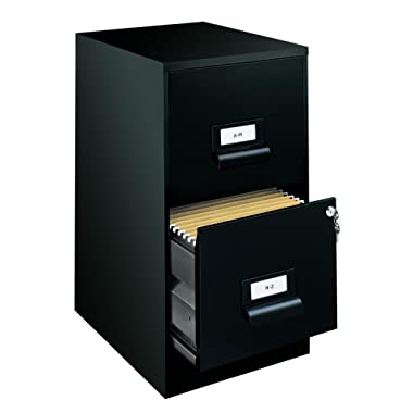 Office Dimensions 18  Deep 2 Drawer Premier Height File Cabinet, Black (21644)