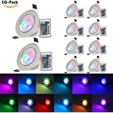 (Pack of 10)XJLED® 5W Led RGB Ceiling Light,Colour Changing Recessed Lighting,AC85-265V, Led Downlight Lamp with Remote Control for Bar KTV Hotel Market Lighting & Decoration (10 Pcs)