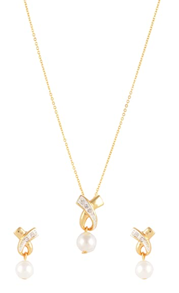 aae88a50f Image Unavailable. Image not available for. Colour  ESTELLE Golden Gold  Plated White Cz AD Stone Small Pearl Drop ...