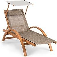 blumfeldt Panamera • Gartenliege • Liegestuhl • Sonnenliege • Sonnendach • ergonomisch • ComfortMesh • finnisches Kiefernholz • max. 150kg • für drinnen und draußen • inkl. Kopfkissen • Creme
